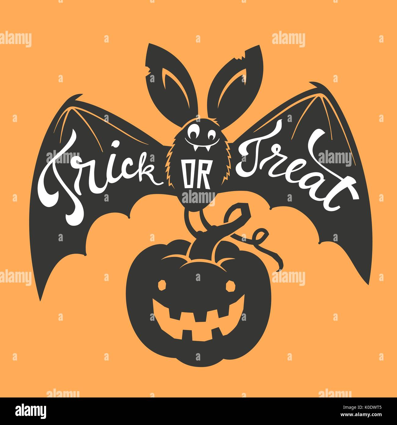 Funny cartoon smiling bat with spread wings and Trick or Treat Stock ...