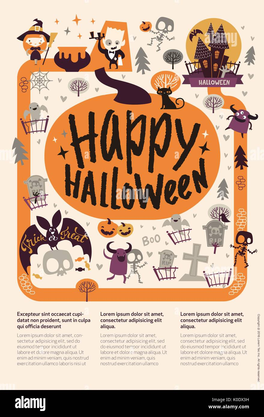 Lovely holiday Happy Halloween flyer template with funny and spooky ...