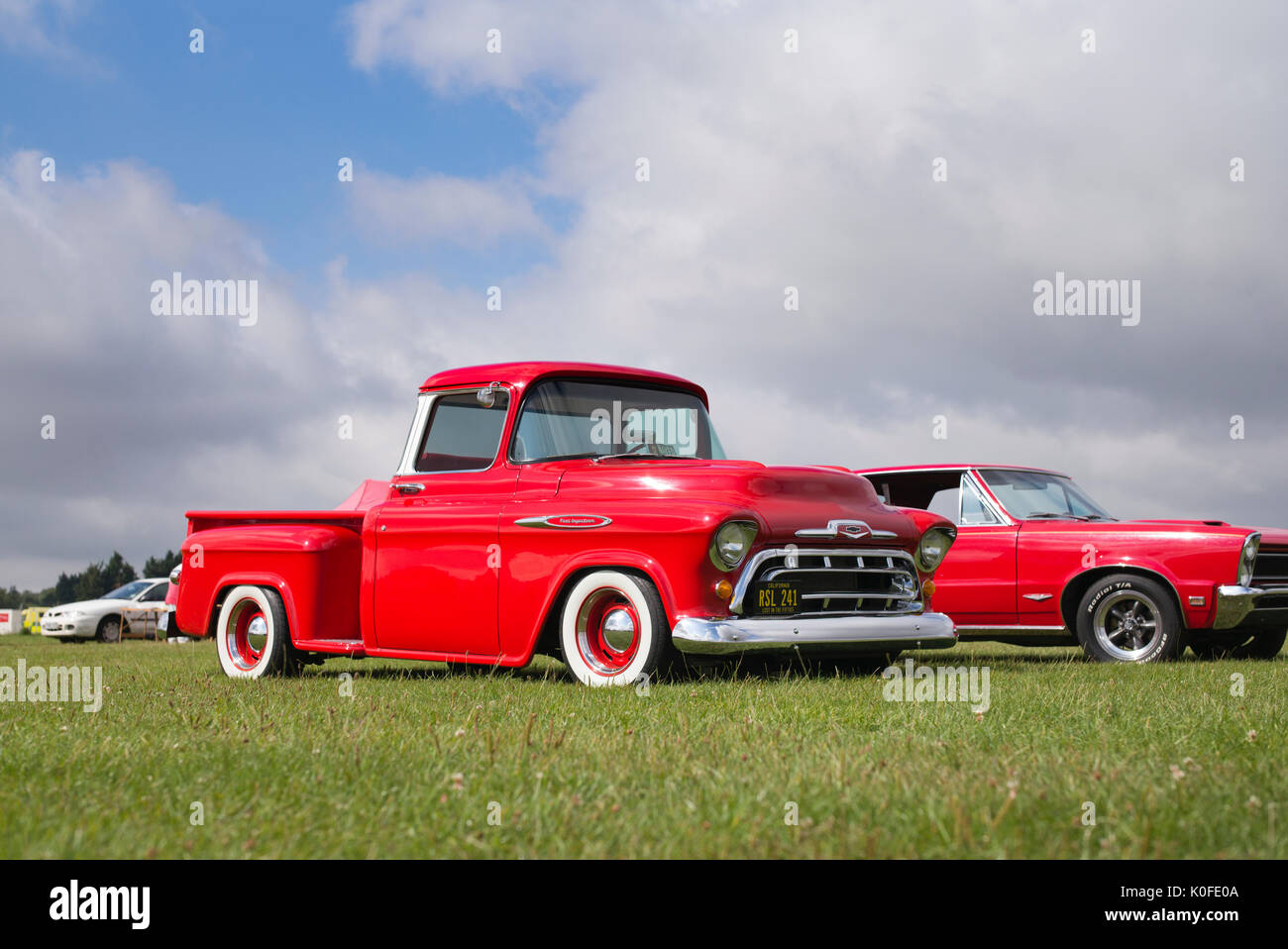 Fifties American Truck Stock Photos 1949 Chevy Pickup Interior 1957 Red Chevrolet Pick Up At An Car Show Essex Uk