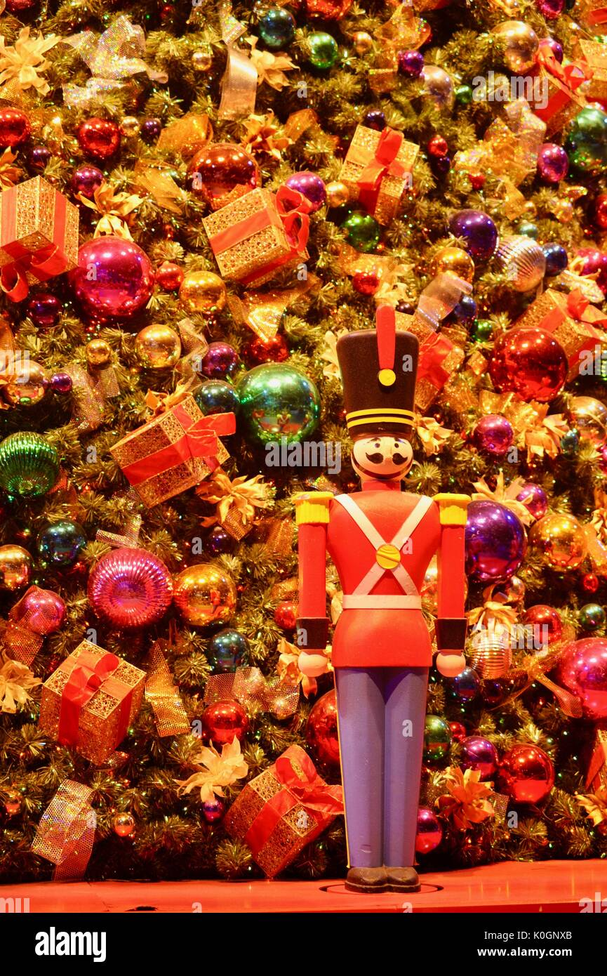 Nutcracker Christmas holiday decorations with glass bulbs, presents ...