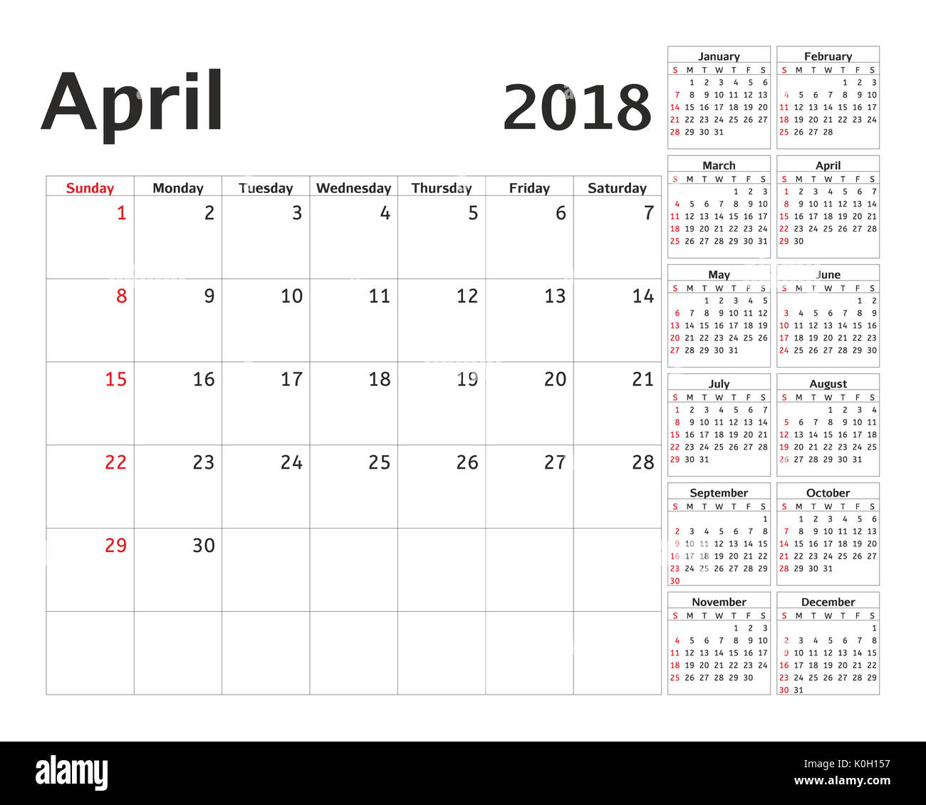 Simple Calendar Planner For 2018 Year Planning Week Design April Template Set Of 12 Months Starts Sunday