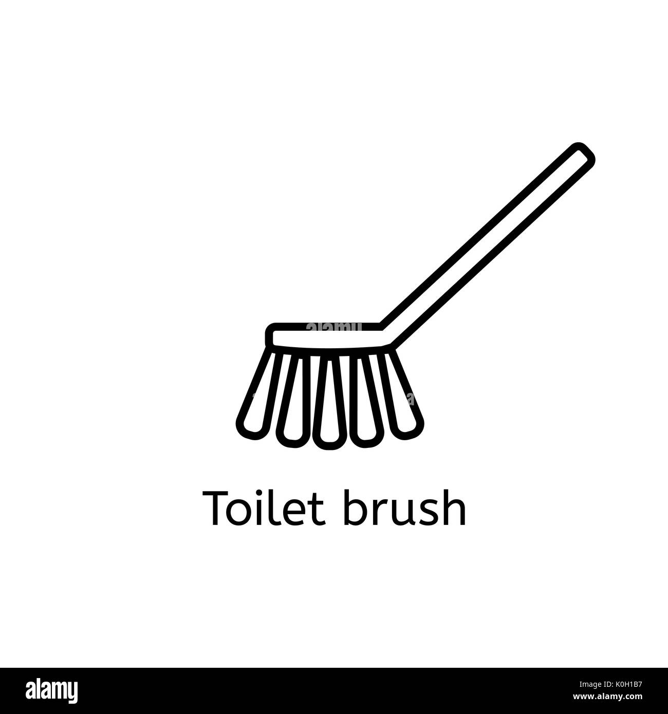 Toilet brush simple line icon. Washing brush thin linear signs Stock ...