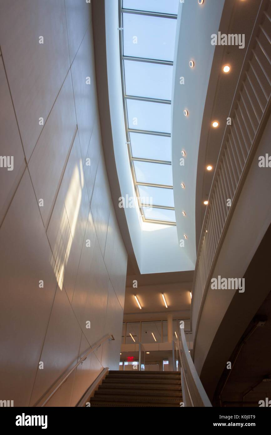 The skylight above the stairs leading to the first level, Q Level, of the  Brody Learning Commons, 2014. Courtesy Eric Chen
