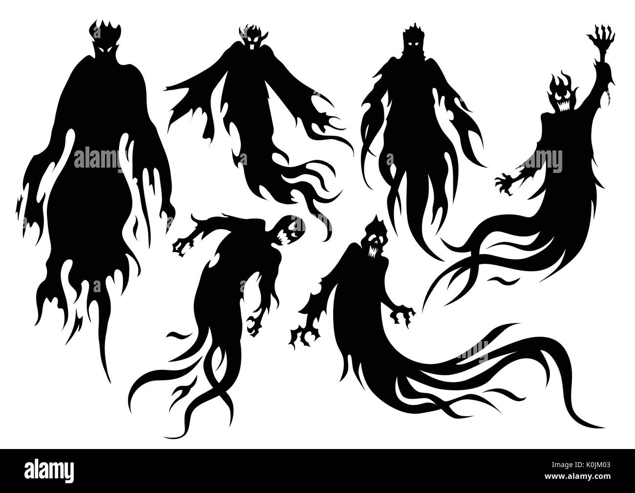 Silhouette of flying evil spirit in vector style collection Stock ...