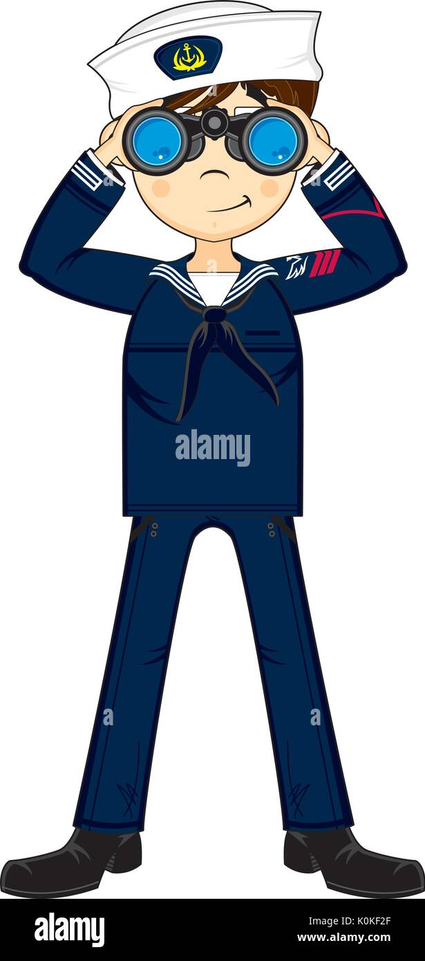 Sailor stock photos illustrations and vector art - Cute Cartoon Navy Sailor With Binoculars Vector Illustration