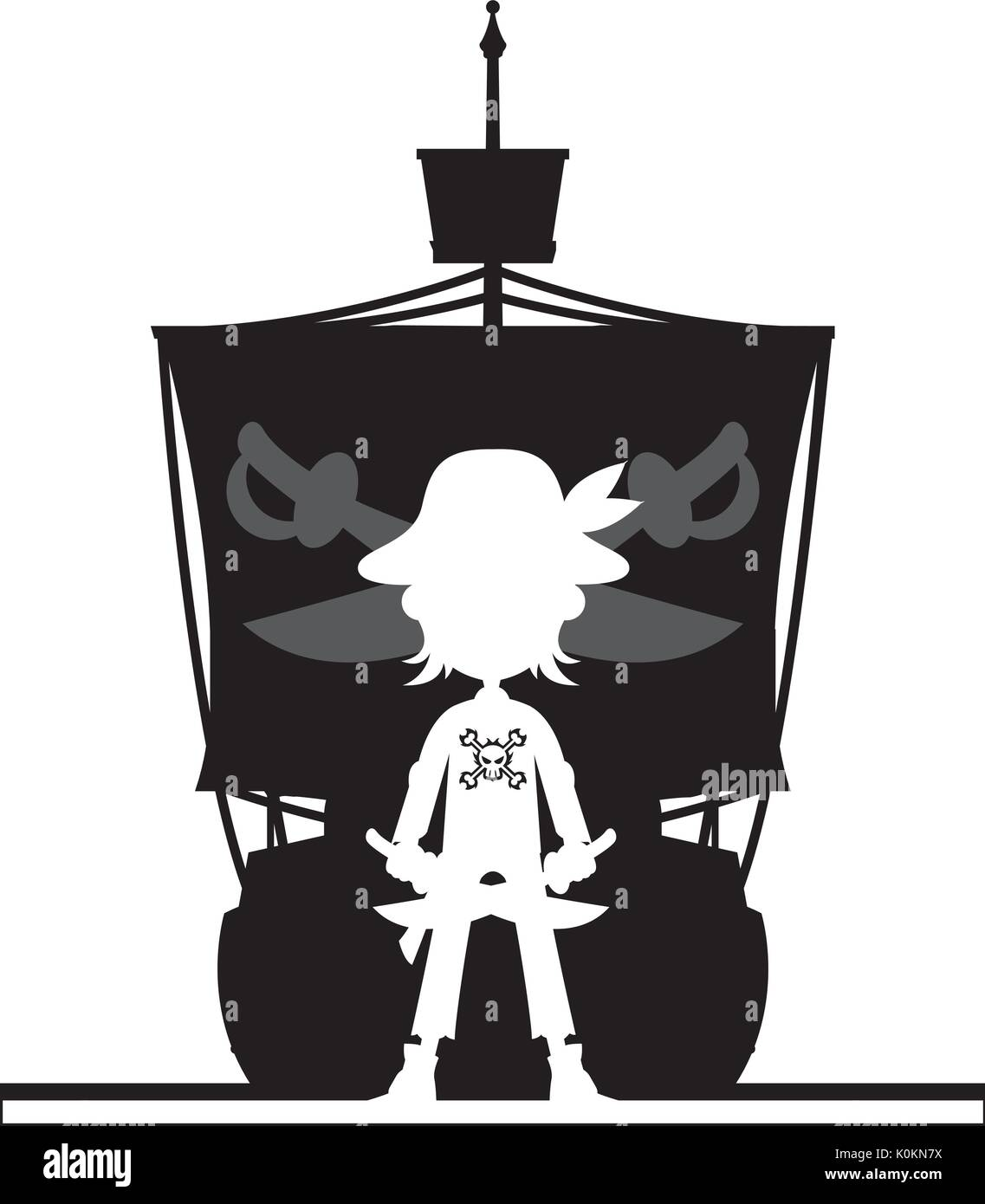 cartoon pirate and pirates ship in silhouette vector illustration
