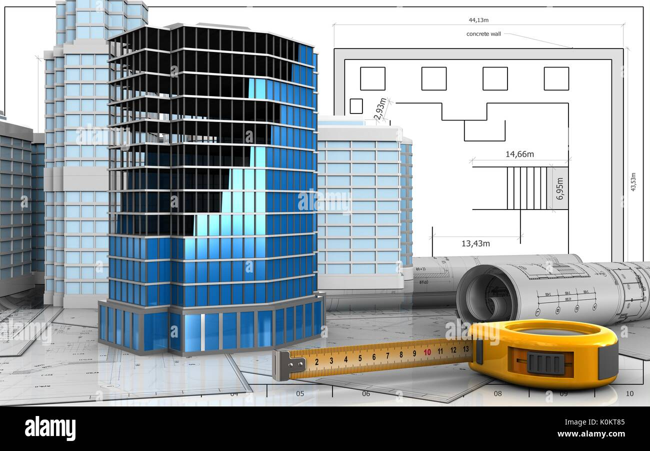 3d illustration of office building construction with urban scene 3d illustration of office building construction with urban scene over blueprint background malvernweather Image collections