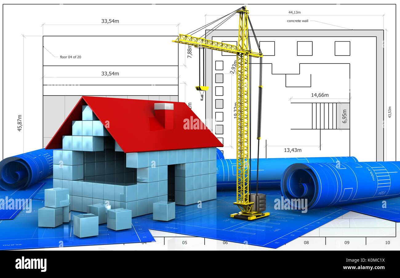 3d illustration of house blocks construction over blueprint stock 3d illustration of house blocks construction over blueprint background malvernweather Image collections