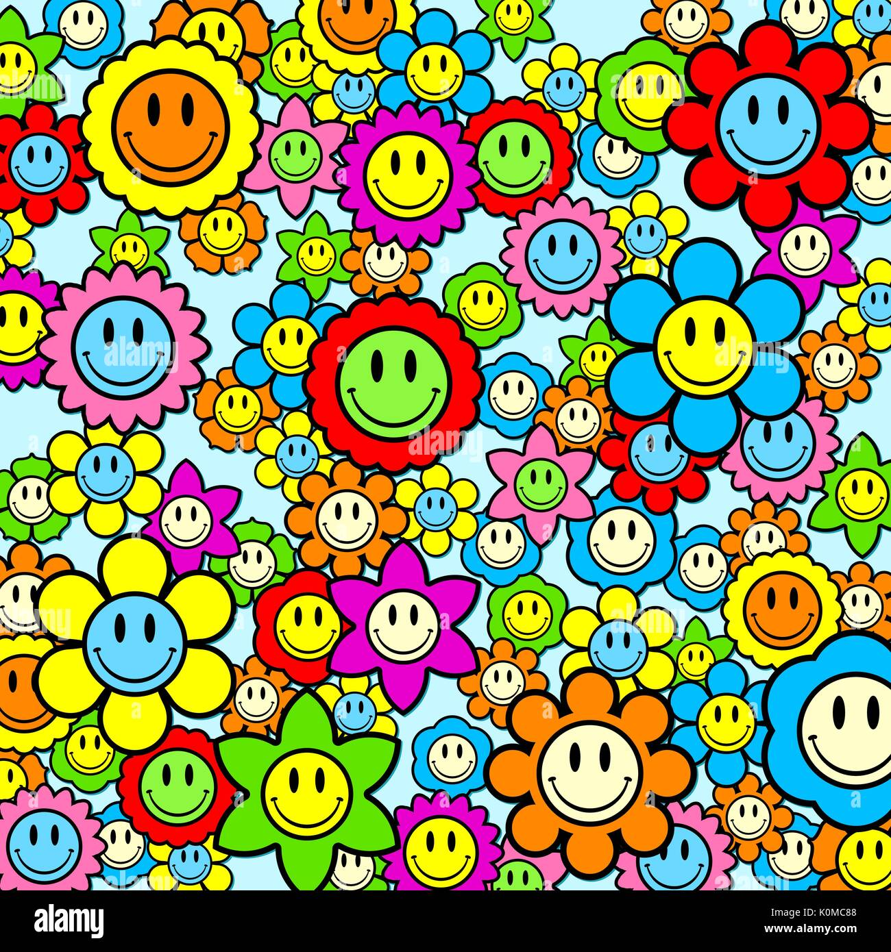 Colorful smiley face flower background illustration stock vector colorful smiley face flower background illustration voltagebd Gallery
