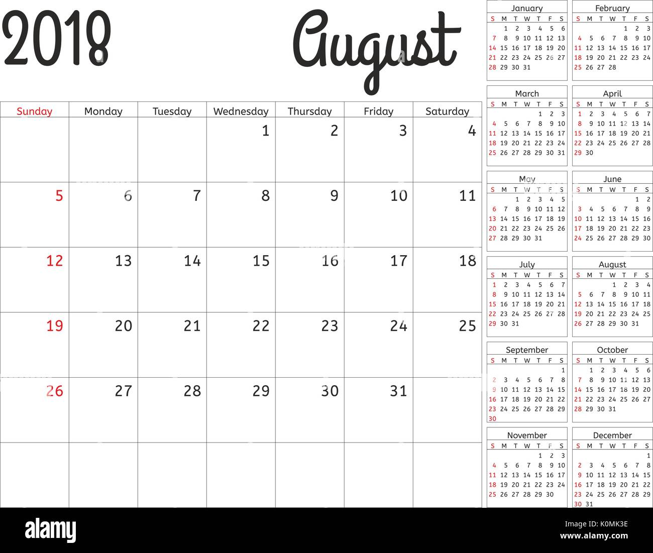 Simple Calendar Planner For 2018 Year Vector Design August Template