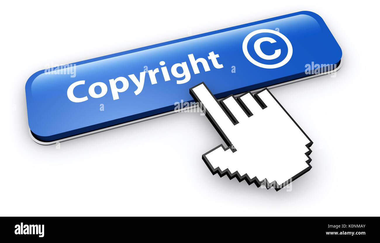 Copyright symbol stock photos copyright symbol stock images alamy copyright symbol and icon concept with hand cursor clicking on a blue web button 3d illustration biocorpaavc Gallery