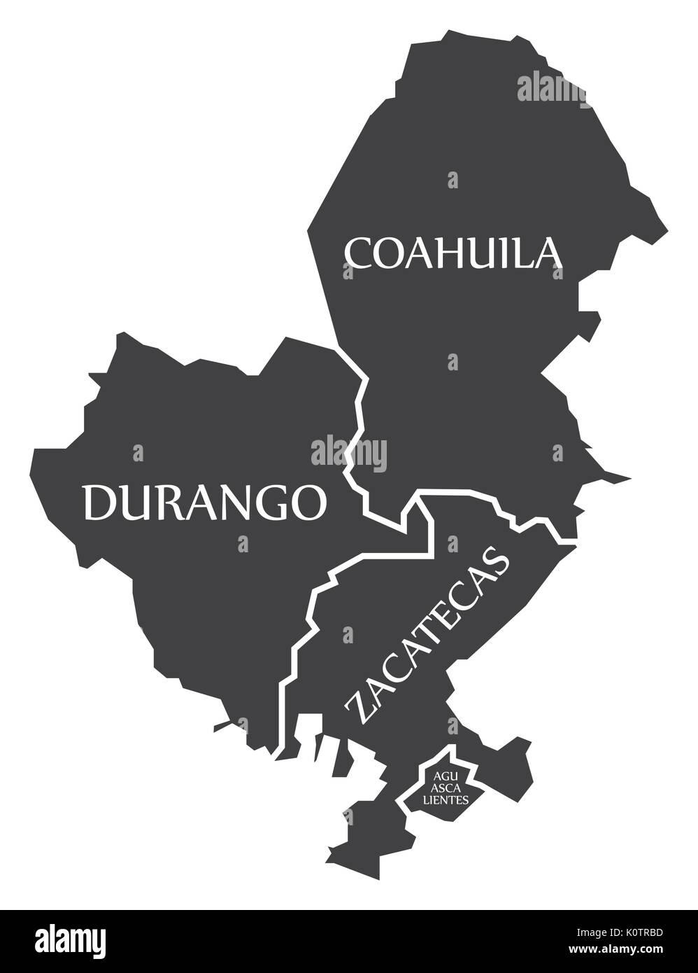 Durango Coahuila Zacatecas Aguascalientes Map Mexico Stock