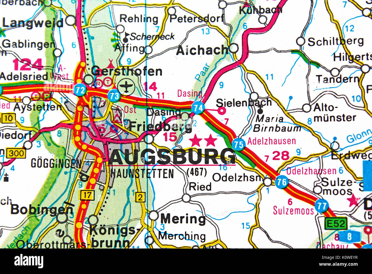Augsburg map city map road map Stock Photo 155453867 Alamy