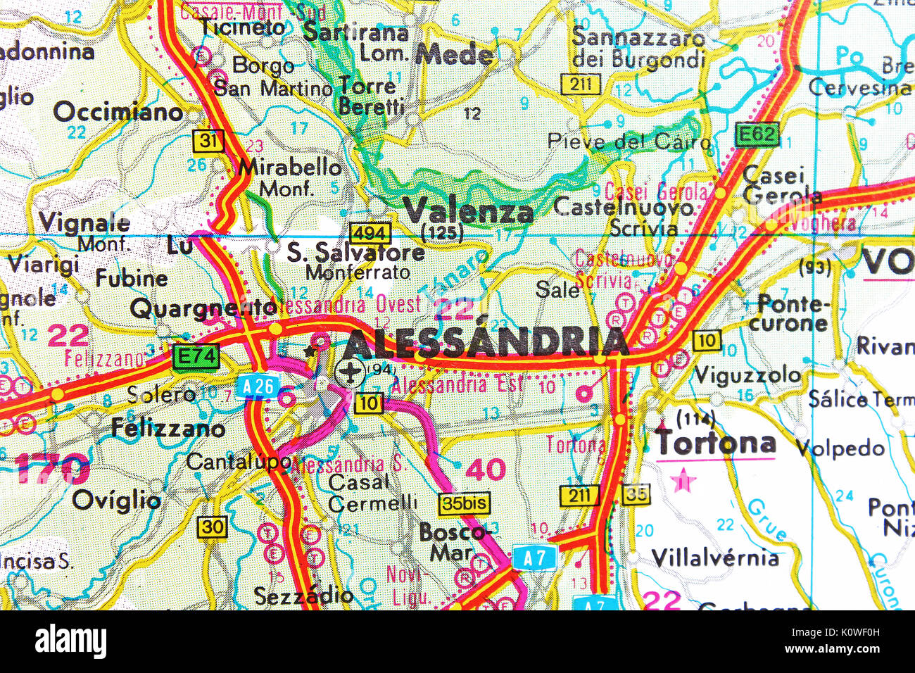 Alessandria map city map road map Stock Photo Royalty Free Image