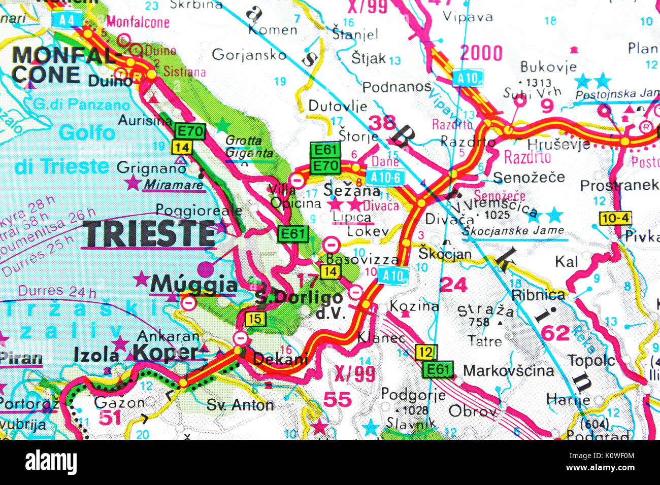Trieste Map City Map Road Map Stock Photo Royalty Free Image - Trieste map