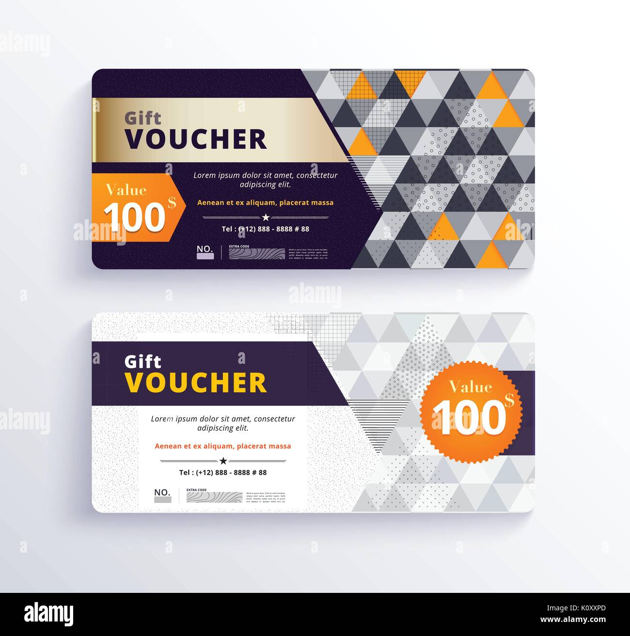 Business Gift Voucher Template Design With Geometric Concept. White And  Gold Color. Vector Illustration  Business Voucher Template