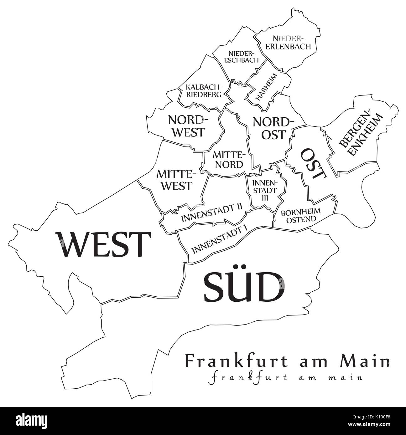 Modern City Map Frankfurt Am Main City Of Germany With Boroughs - Germany map main cities