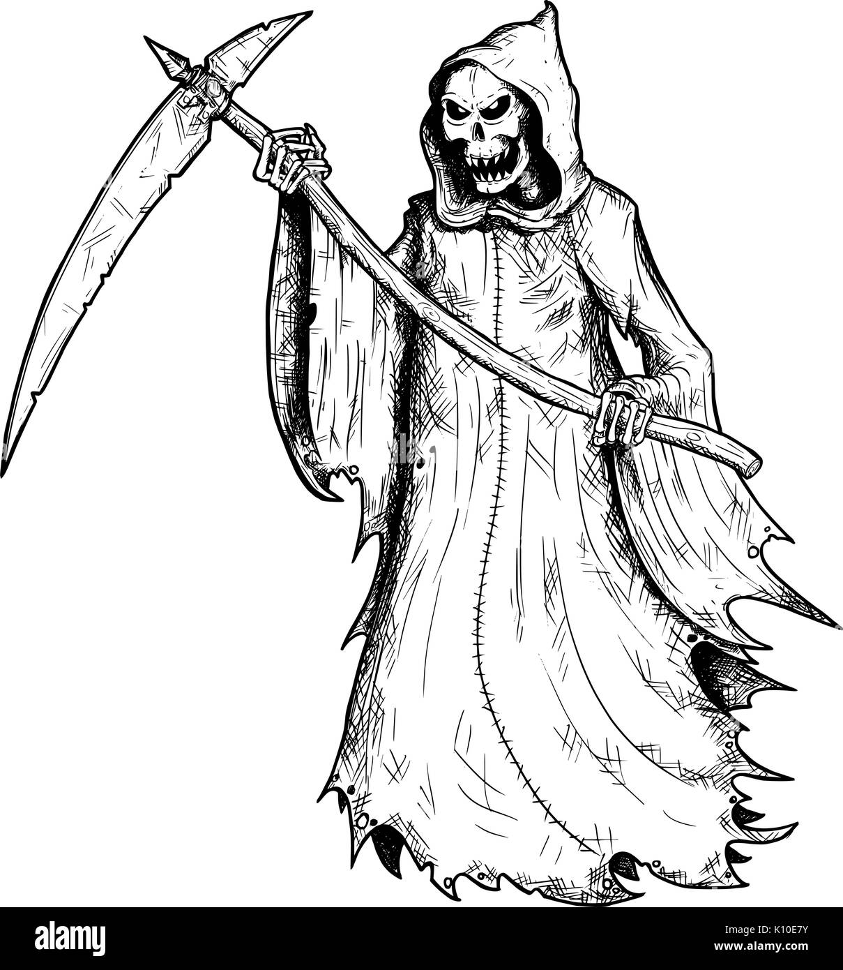 Uncategorized Reaper Drawing hand drawing illustration of halloween grim reaper human skeleton with scythe personification death