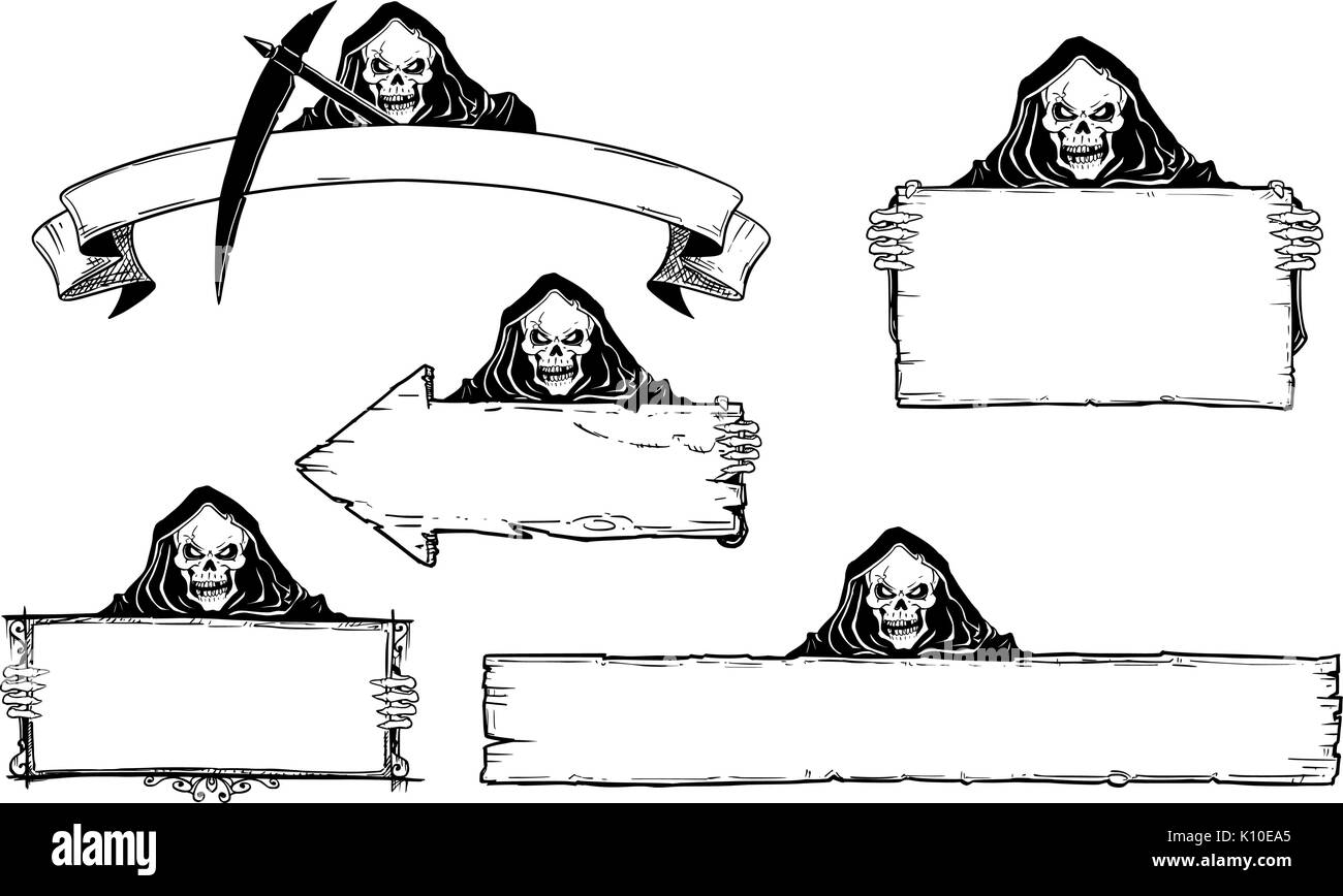 set of halloween frames and empty signs with hand drawing grim reaper illustration stock photo