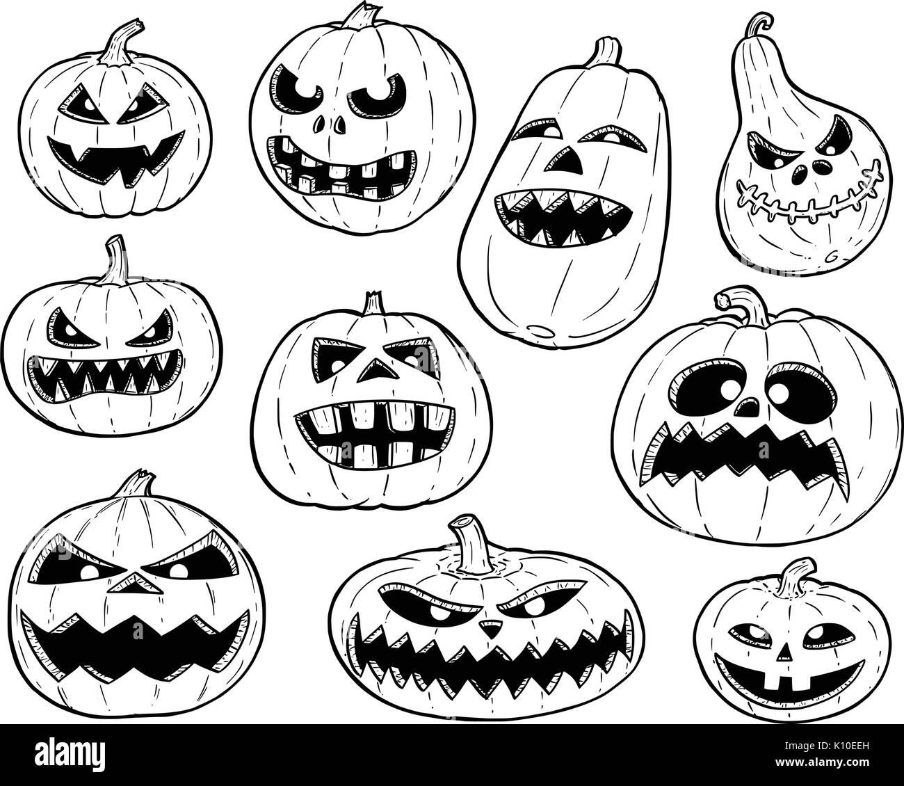 set of cute hand drawing illustration of halloween pumpkin designs