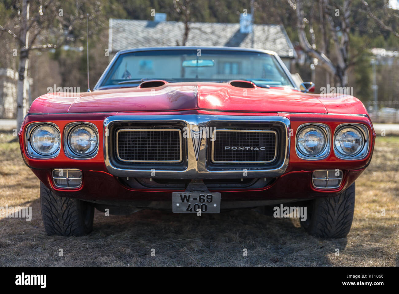 Pontiac, old, classic, red, car, show, Alta, Finnmark, Norway Stock ...