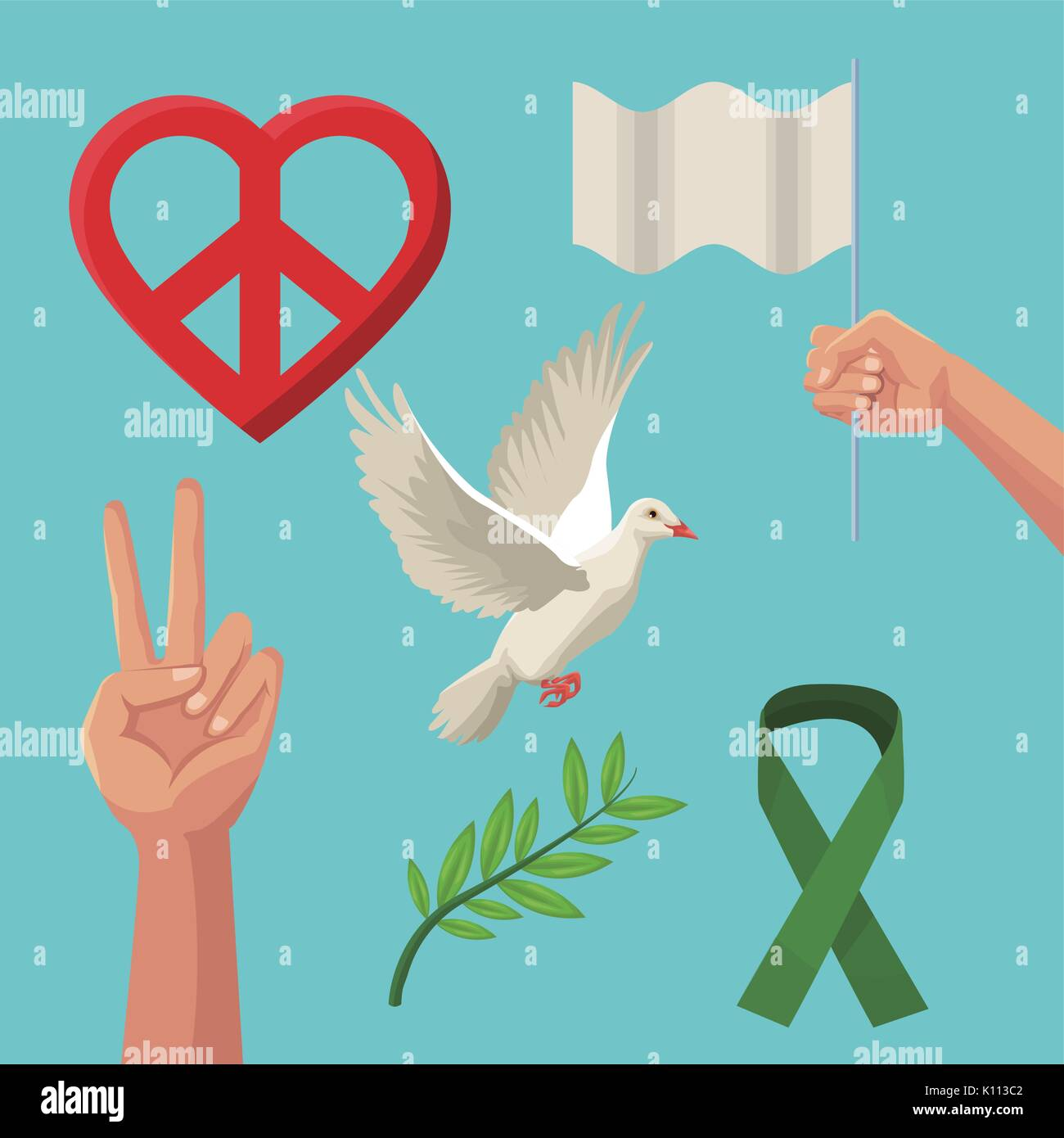 Color poster icons of peace and love symbols stock vector art color poster icons of peace and love symbols biocorpaavc Images