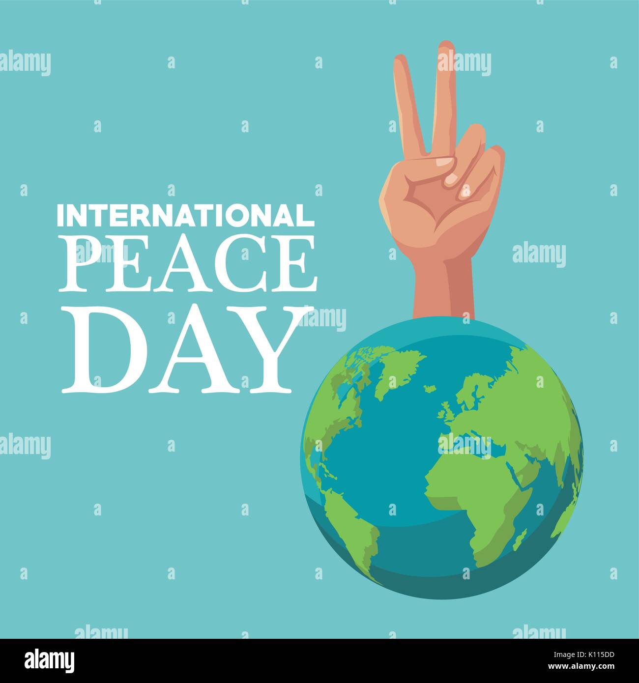 Earth day poster stock photos earth day poster stock images color poster earth world with hand victory symbol international peace day text vector illustration stock buycottarizona