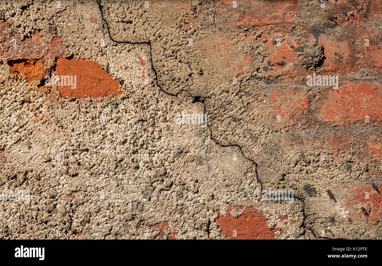 Plain wood table with hipster brick wall background stock photo - Background Of The Cement Wall Grey Plain Textured With A Crack Diagonally With Elements Of Red