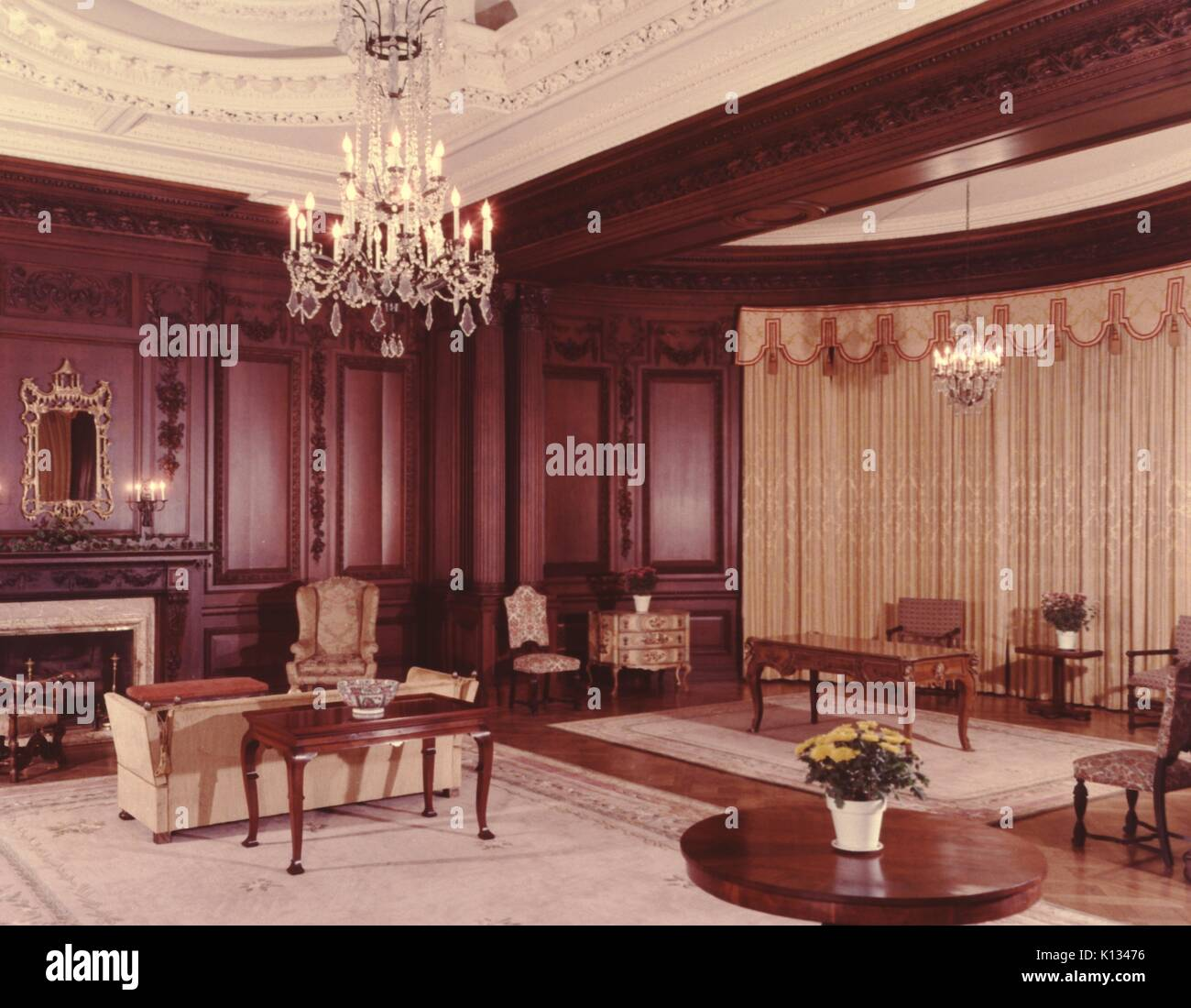 Oak Room, With Wood Paneling, Fireplace And Chairs At Casa Loma, A Gothic  Revival Mansion Patterned After A Castle, Toronto, Ontario, Canada, 1967.