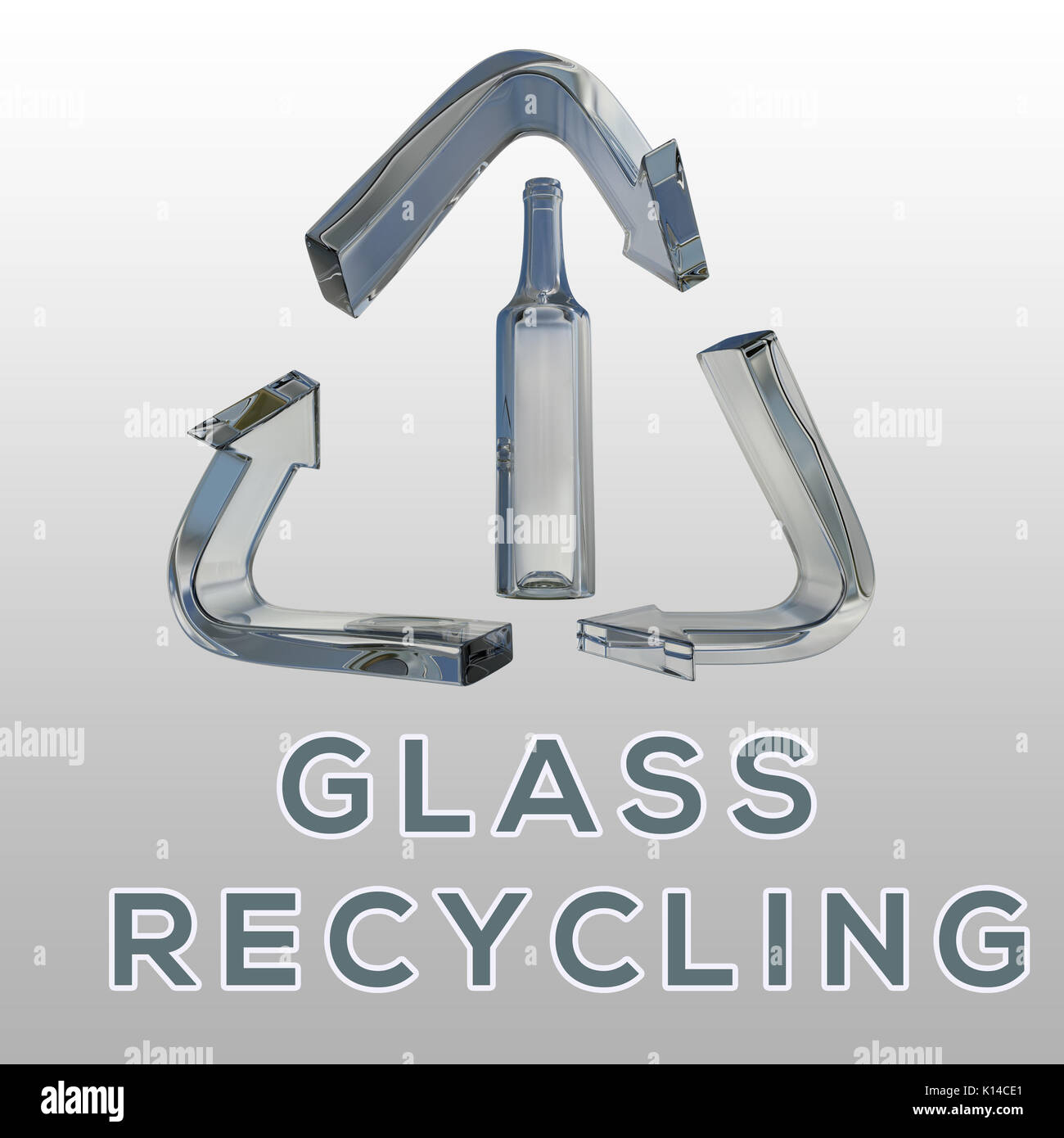 3d Illustration Of Glass Recycling Title With Glass Bottle In A