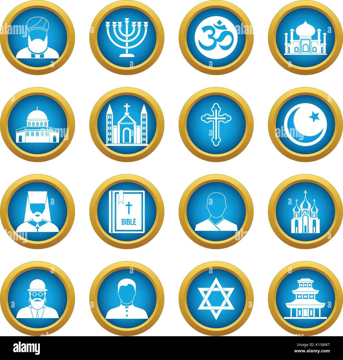 Hindu muslim christian stock photos hindu muslim christian stock religious symbol icons blue circle set stock image biocorpaavc Gallery