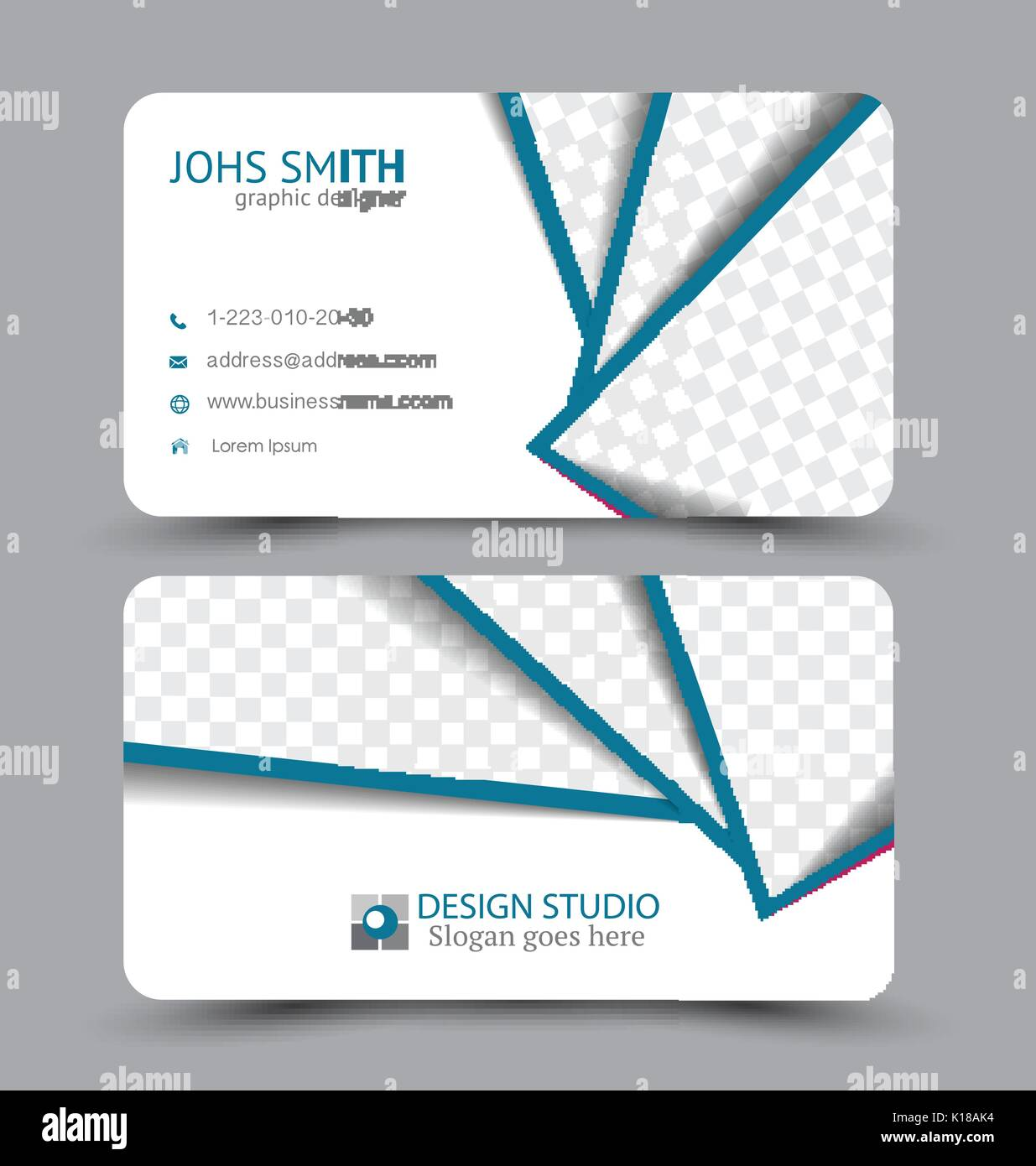 Business card design set template for company corporate style stock business card design set template for company corporate style vector illustration blue color reheart Image collections