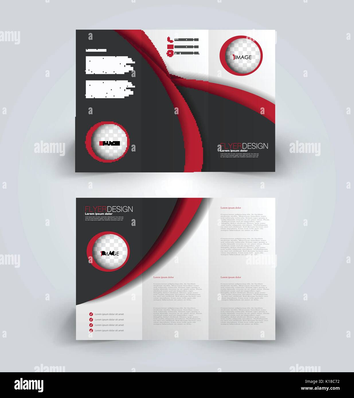 brochure tri fold design template for business education stock