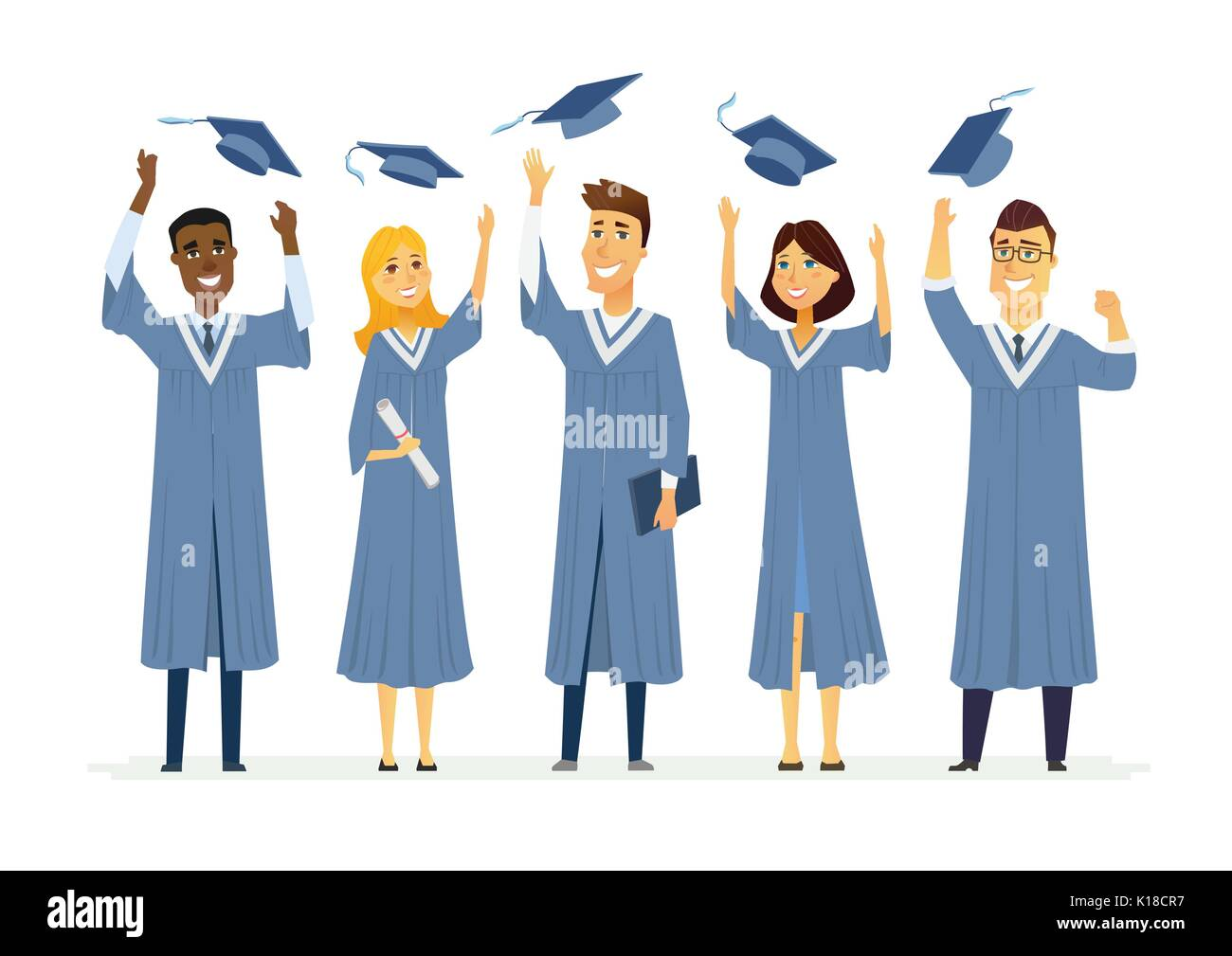 happy graduating students cartoon people characters isolated stock