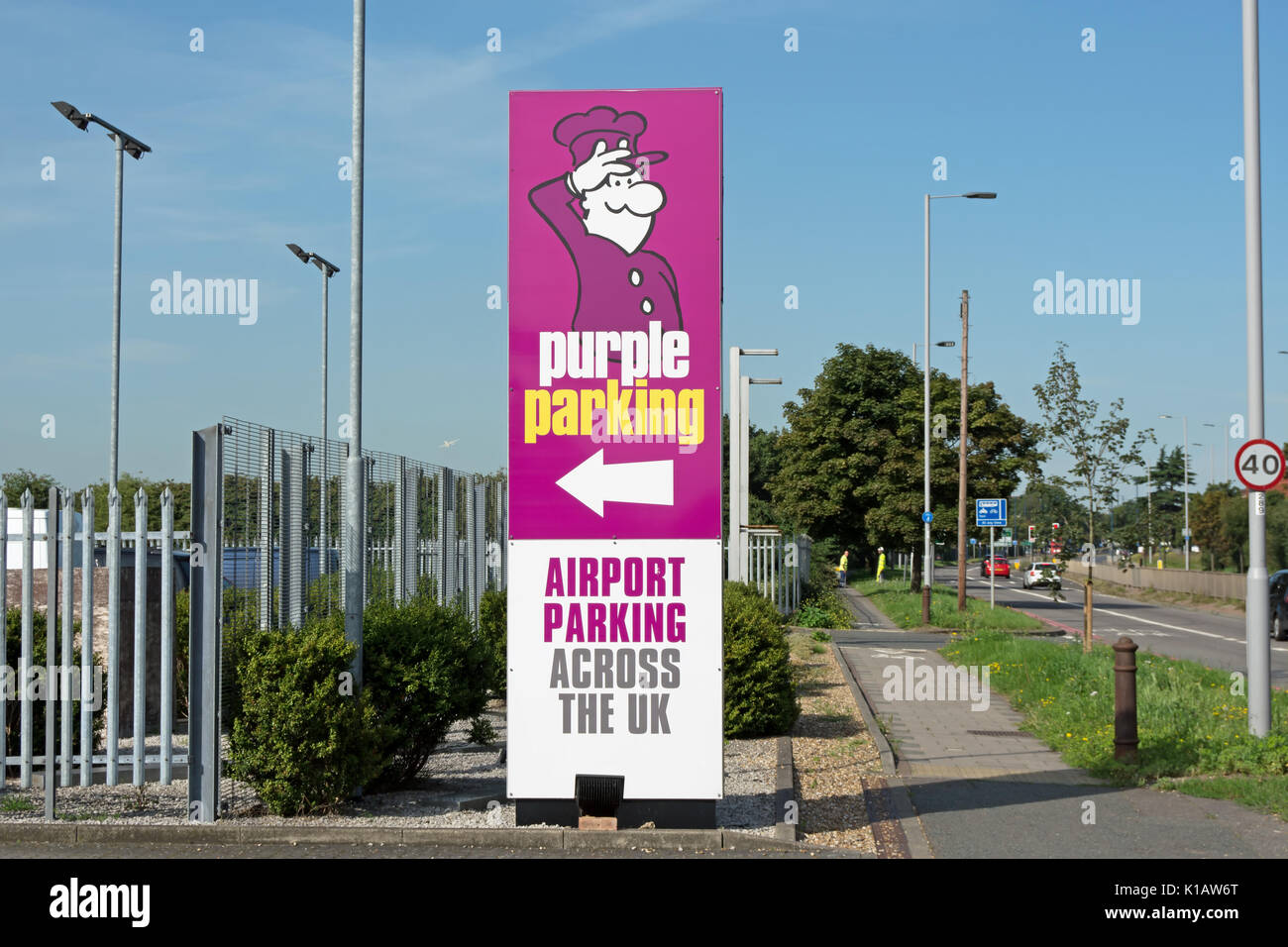 Airport parking uk stock photos airport parking uk stock images pillar entrance sign for purple parking near heathrow london england stock image kristyandbryce Images