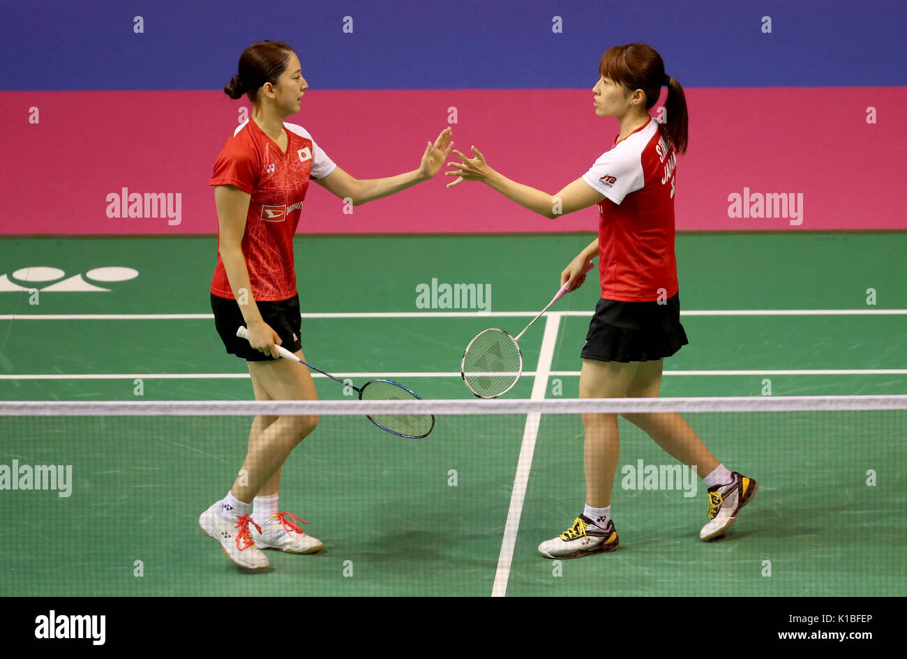 Japan s Shiho Tanaka right and Koharu Yonemoto in their quarter
