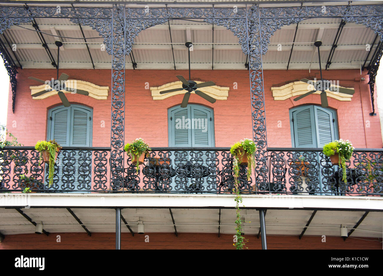 French quarter building with iron balcony and ceiling fans new french quarter building with iron balcony and ceiling fans new orleans la aloadofball Image collections