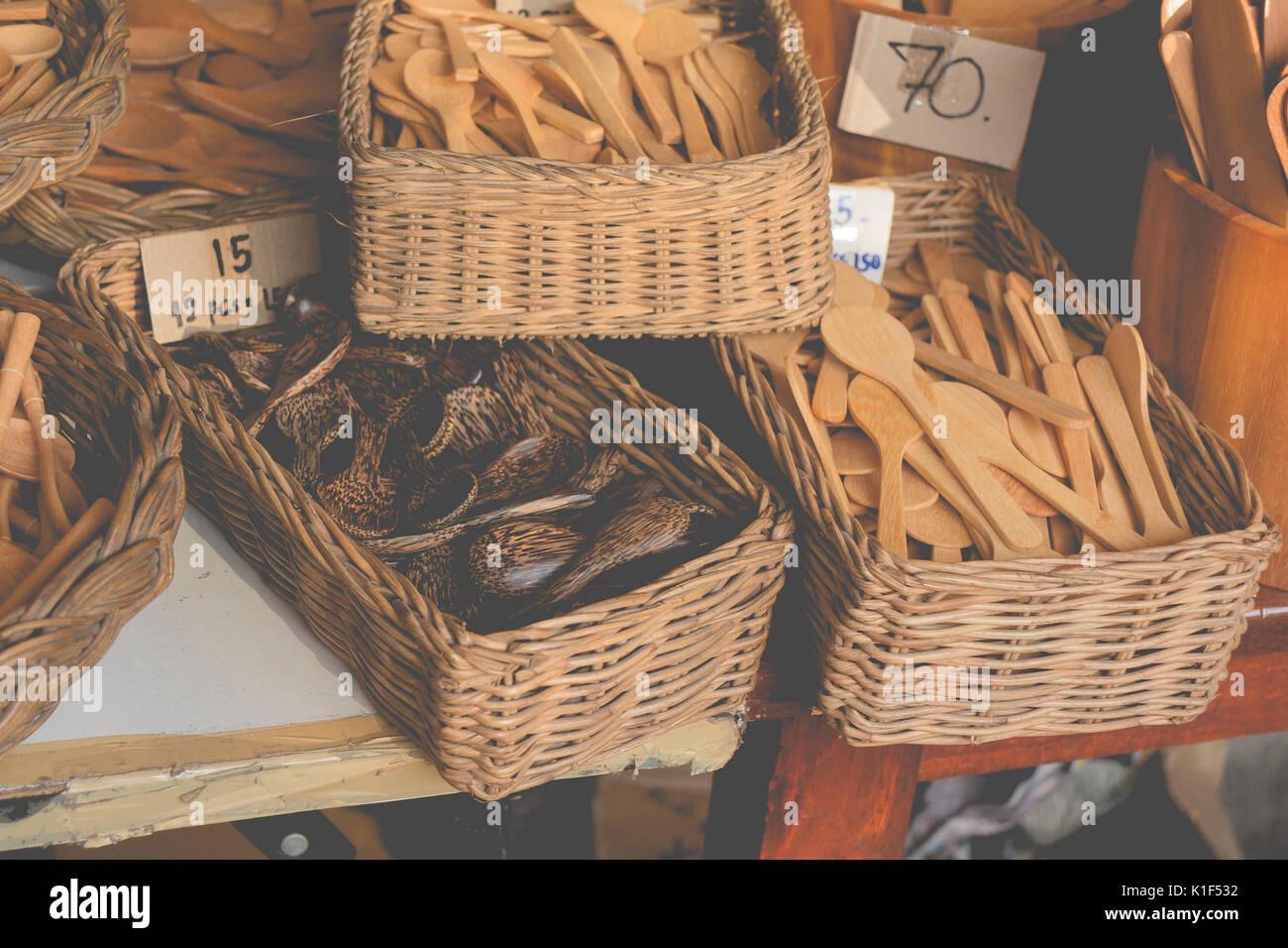 Retro Effect Faded Image Of Wooden Kitchenware Handicrafts Vintage