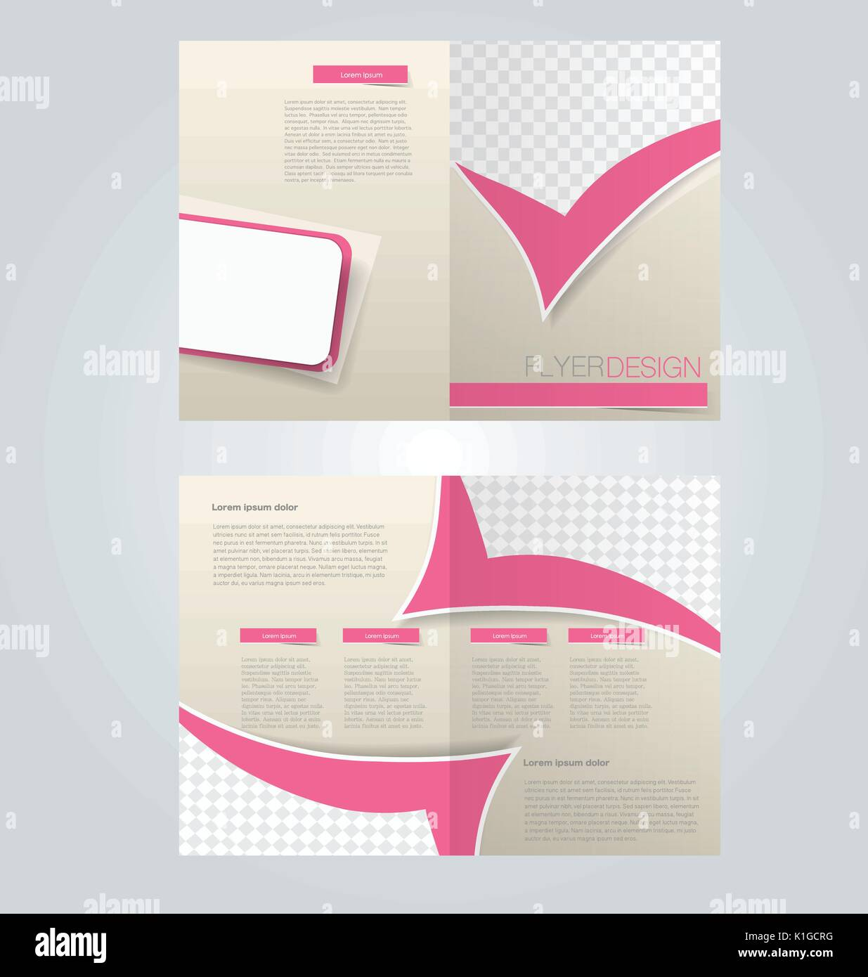 brochure template design two page mock up flyer pink color vector