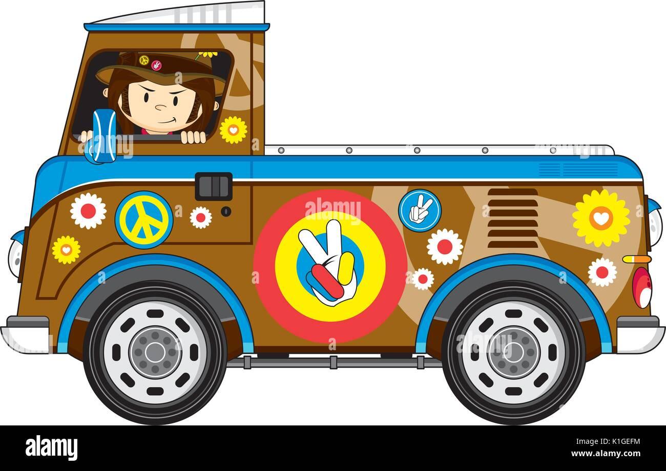 Cartoon Flower Power Hippie with Cool Van Vector Illustration