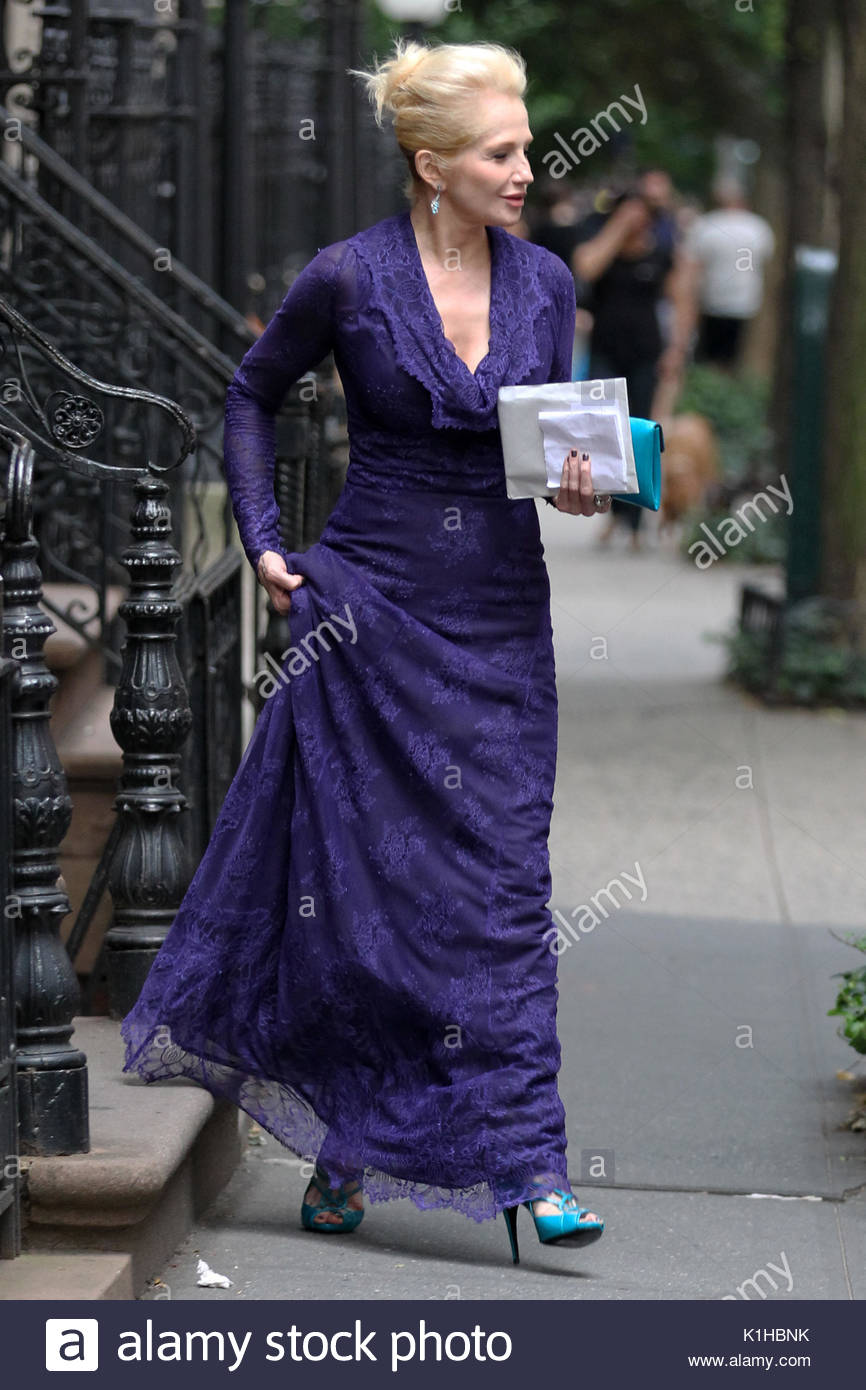 Ellen Barkin. Actress Ellen Barkin, wearing a purple evening gown ...