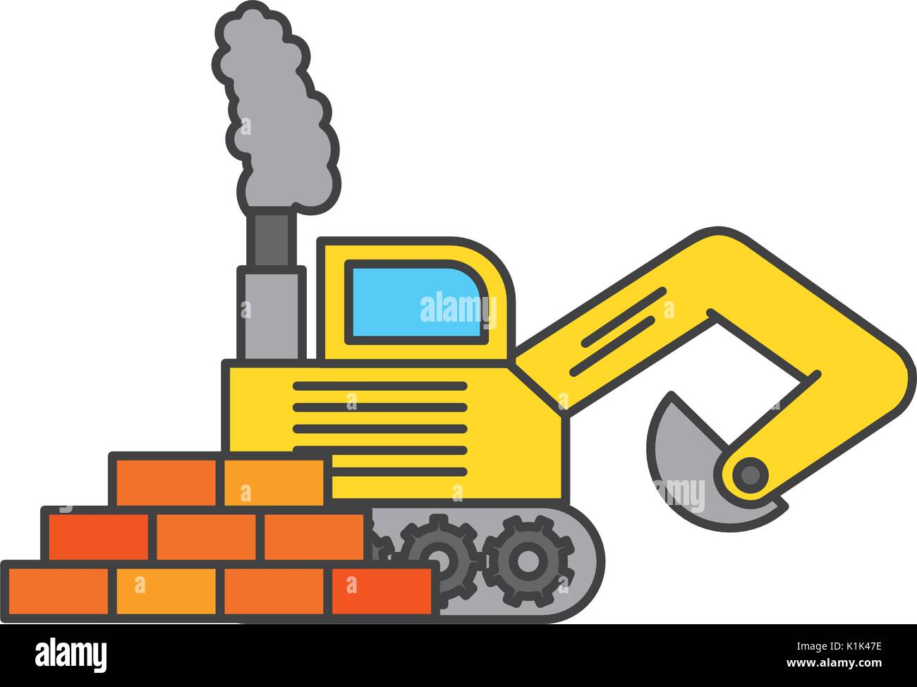 bricks wall with excavator vector illustration design Stock Vector ...