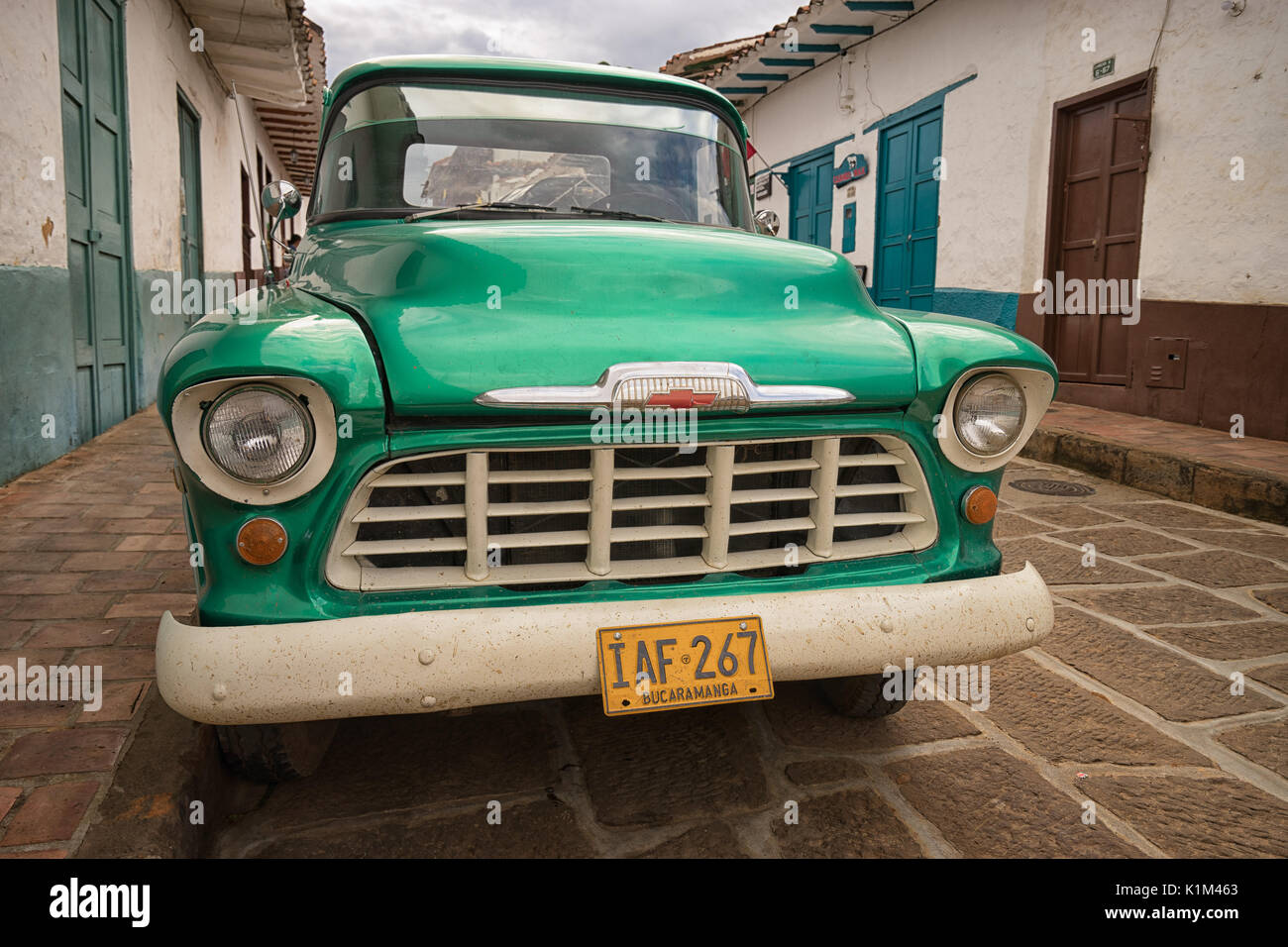July 22, 2017 Barichara, Colombia: many vintage cars are kept in ...