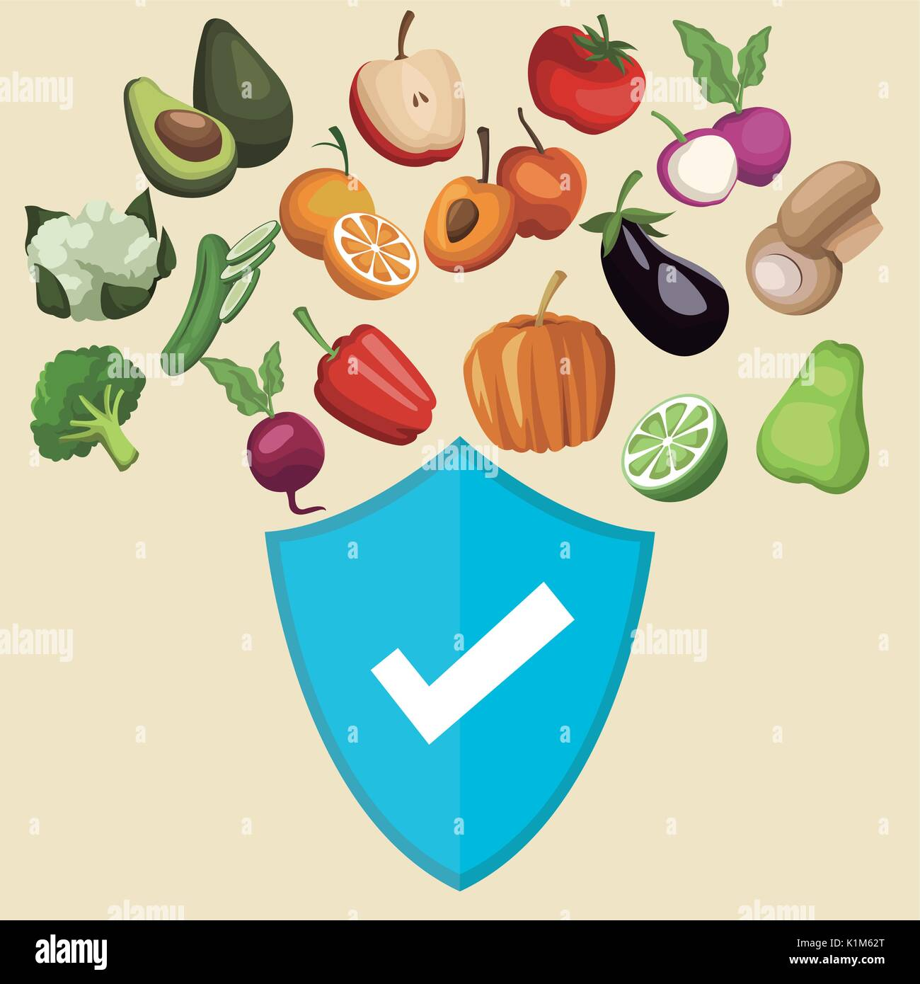 color background with shield healthy symbol and vegetables and ...