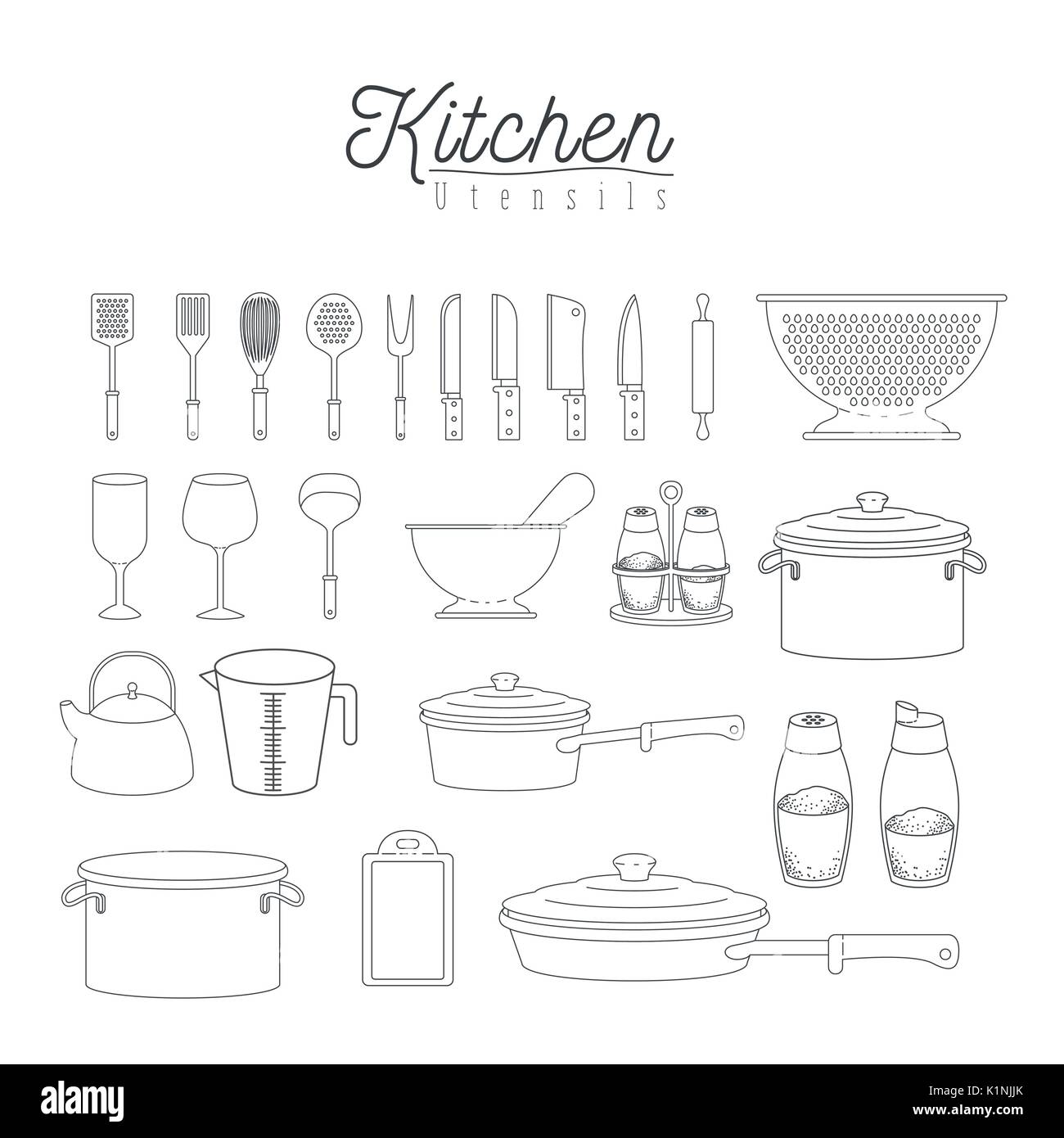 white background with set silhouette group of kitchen utensils Stock ...