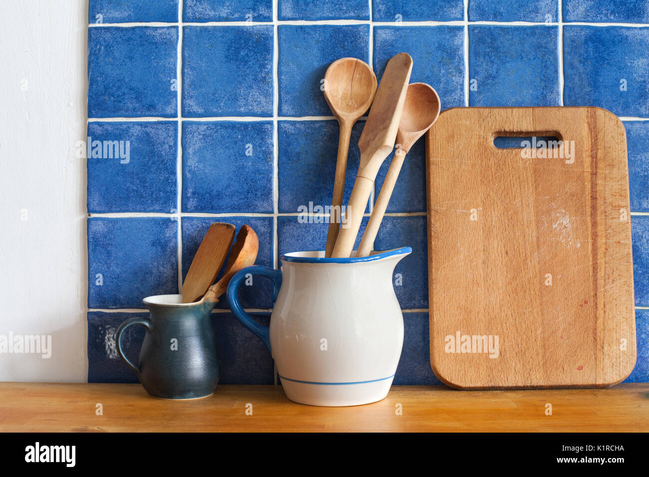 Cutting Board Wooden Spoons Retro Style Vintage Kitchen Utensils - Ceramic tile cutting boards