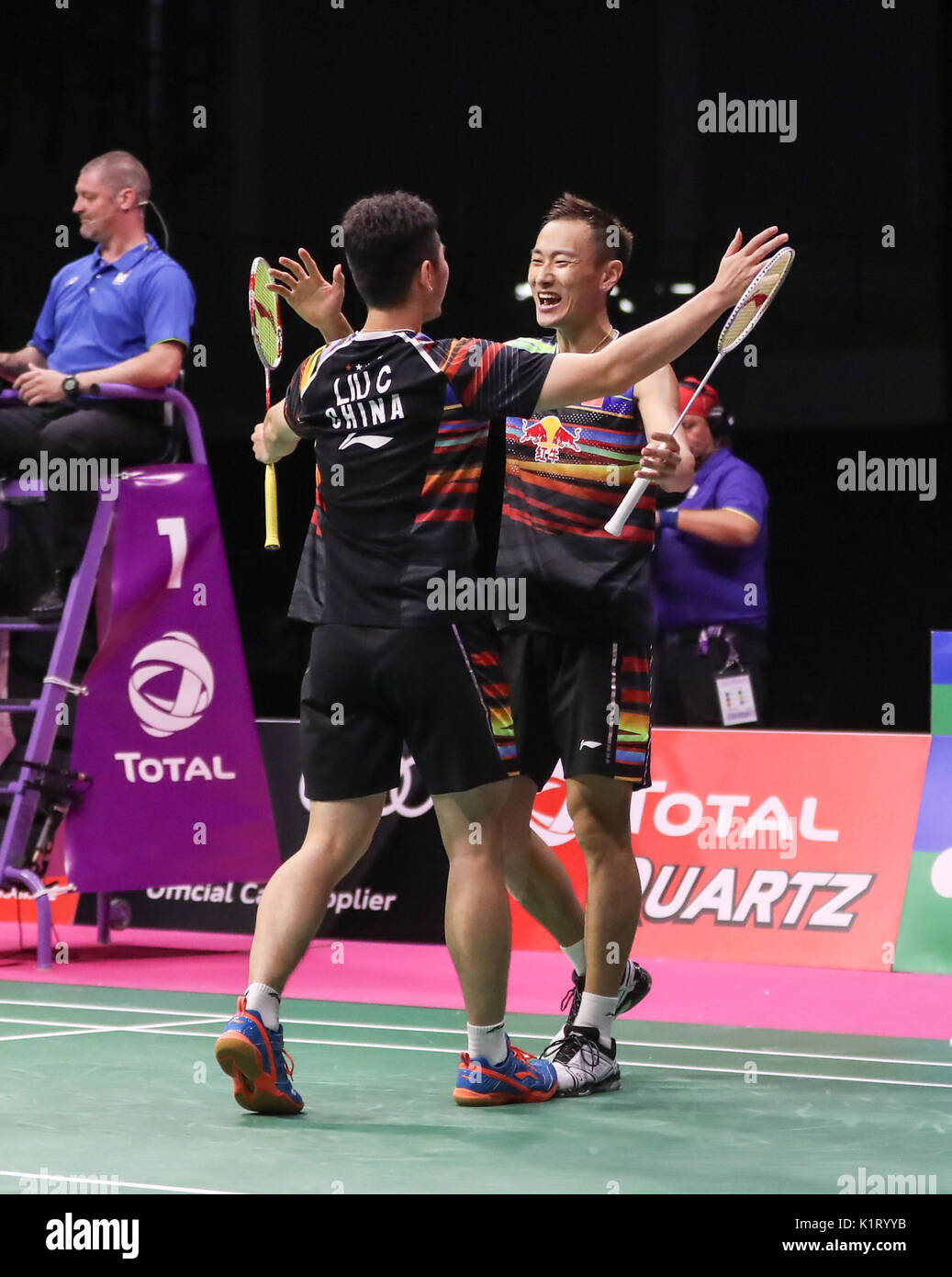 Glasgow Britain 27th Aug 2017 Liu Cheng L and Zhang Nan of