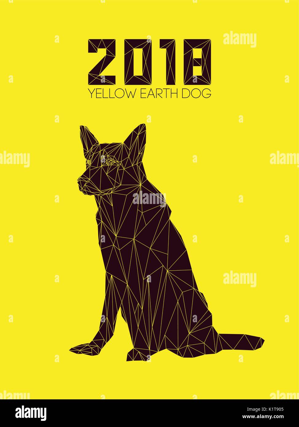 Dog is symbol of new 2018 year according to chinese calendar year dog is symbol of new 2018 year according to chinese calendar year of yellow earth dog guard dog german shepherd in polygons style biocorpaavc