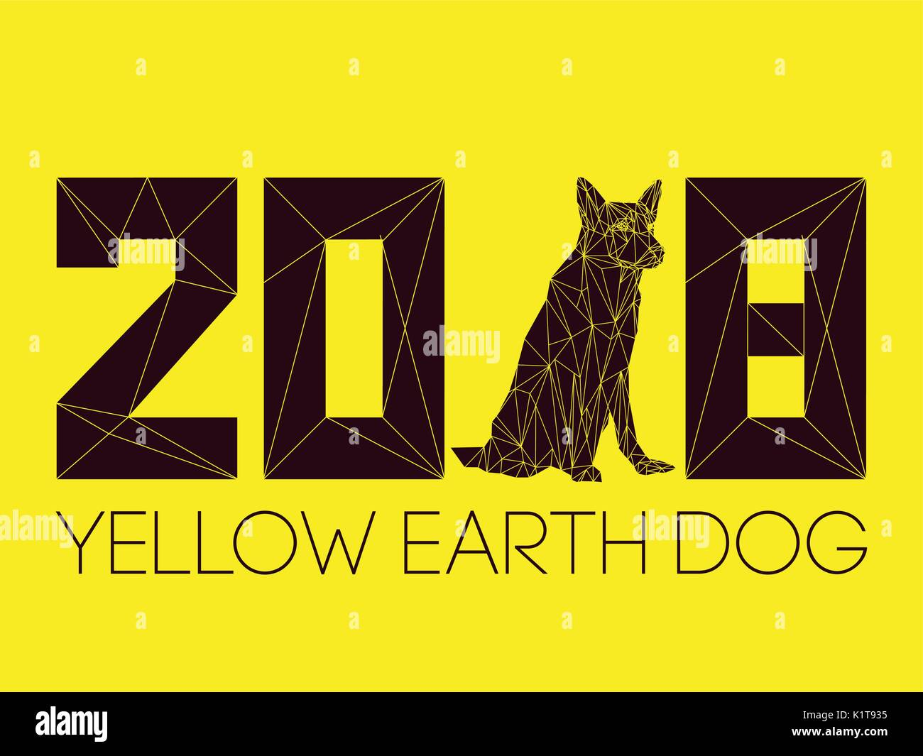 2018 and dog is symbol of new year according to chinese calendar 2018 and dog is symbol of new year according to chinese calendar year of yellow earth dog guard dog german shepherd in polygons style sitting biocorpaavc