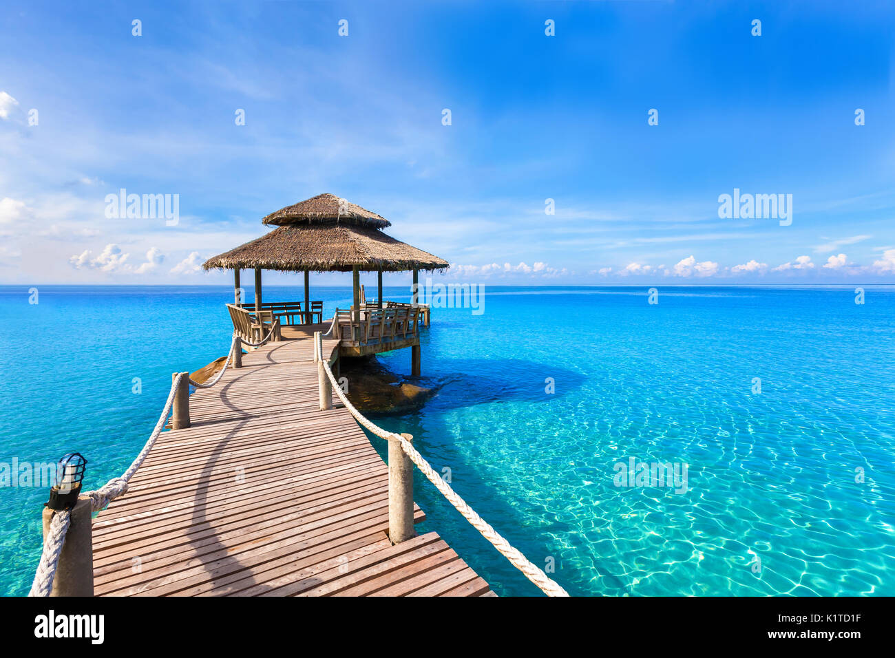Tropical Island Beach Ambience Sound: Maldives Turquoise Water Wooden Jetty Stock Photos